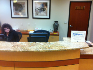 Check in with the receptionist